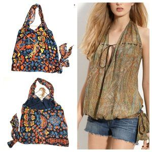 Haute Hippie Bohemian Floral Silk Halter Top
